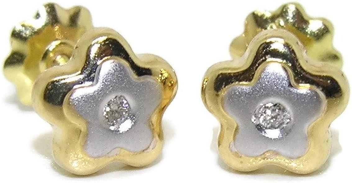 Preciosos pendientes con 0.04cts de diamantes con forma de flor en oro amarillo y oro blanco de 18Ktes