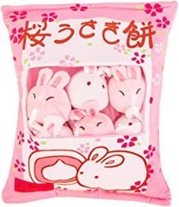 SHDZKJ Cute Bag of Cherry Blossom Bunnies Plush Toy Soft Throw Pillow Stuffed Animal Toys Creative Gifts Room Decor
