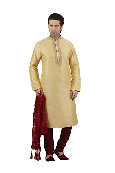 b1f4496705 Da Facioun Mens Kurta Pajama Wedding Dupion India Party Wear Gold Set of  2.: Amazon.ca: Clothing & Accessories