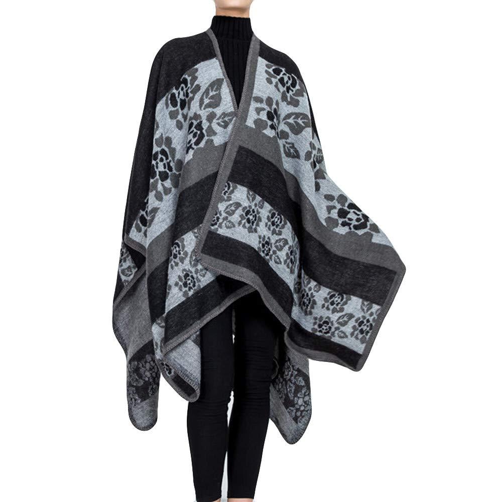 Women Reversible Fleece Blanket Oversized Cape Flower Pattern Shawl Coat Winter (Gray)