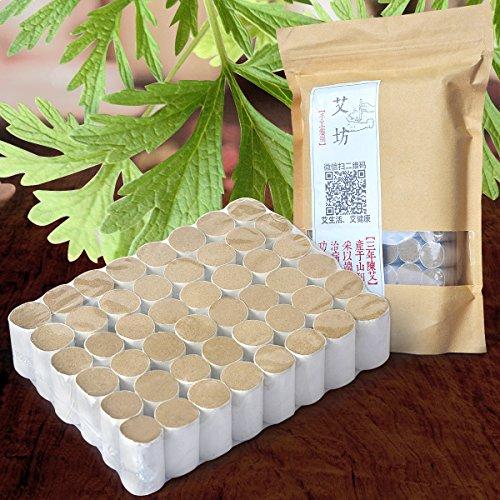 Pure Moxa Rolls Chinese Wormwood 3 Years Moxa Columns for Moxibustion Handmade Mugwort Herb Medicine Therapy(48 pcs)