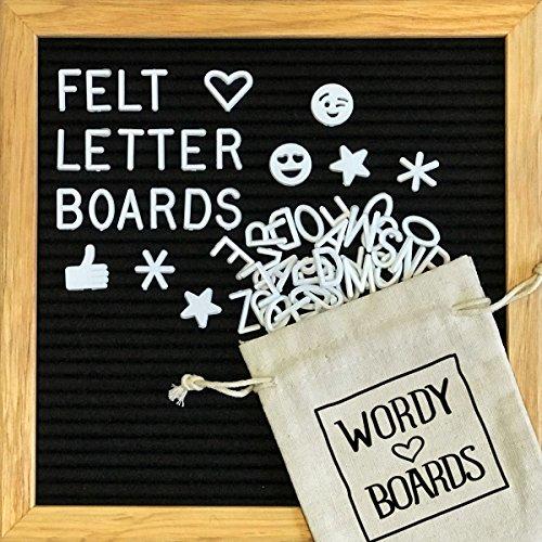 Black Felt Letter Board 10x10 Inches. Changeable Letter Boards Include 340 White Plastic Letters, Symbols, Emojis & Oak - Online Frame Shop