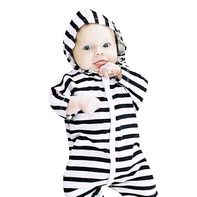 Amazon.com: Traje con capucha para bebé, con diseño de rayas ...