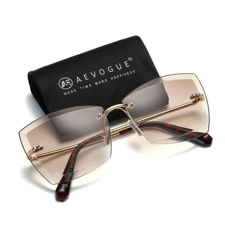 87f4e96b577 good AEVOGUE Sunglasses For Women Square Rimless Diamond Cutting Lens Glasses  AE0528