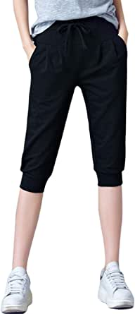 Flygo Womens 3/4 Capris Jogger Pants Below Knee Active Running Sweatpants Workout Yoga Shorts