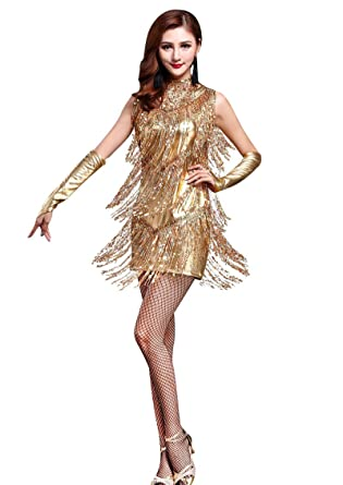 047dfd2bf05 ZX Z X 1920s Sequin Embellished Fringe Flapper Latin Dance Dress 4 Pieces  Outfits at Amazon Women s Clothing store