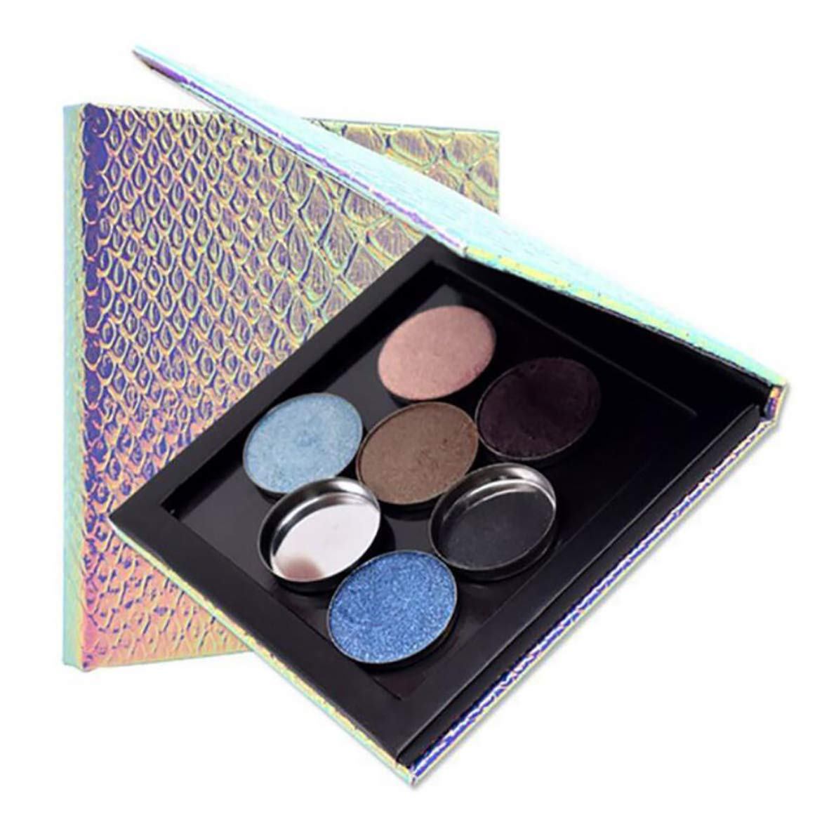 Mermaid Fish-Scale Pattern Change Empty Magnetic Eyeshadow Blush Highlighters Palette makeup tools 10x10cm