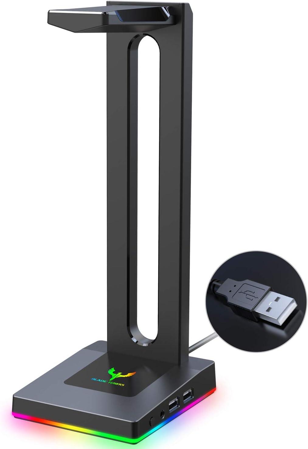 Blade Hawks RGB Gaming Soporte Auriculares, Universal Soporte Auriculares con 3.5mm AUX y 2 USB Puertos, Válido para Auriculares Sony, Bose, Shure, Jabra, JBL, AKG, para Juego y Pantalla