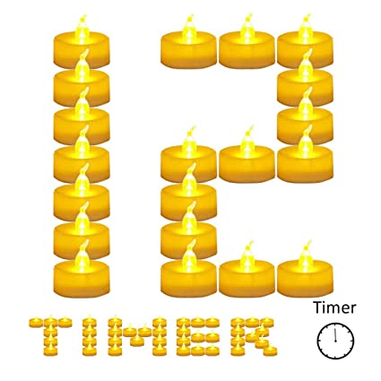 12 Pack Battery Timer Tea Lights For Christmas 6 Hours On And 18 Hours Off In 24 Hours Cycle Warm Led Flicker Flameless Timer Candle No Fire Hazards