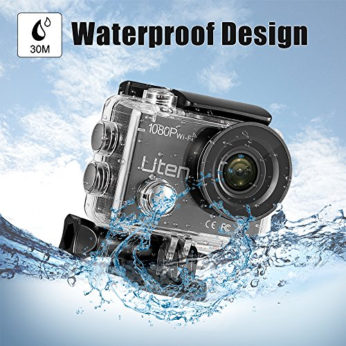 Action Camera HD 1080P Sports Cam 30m Underwater Waterproof Camcorder with WiFi 170°Wide Angle Lens