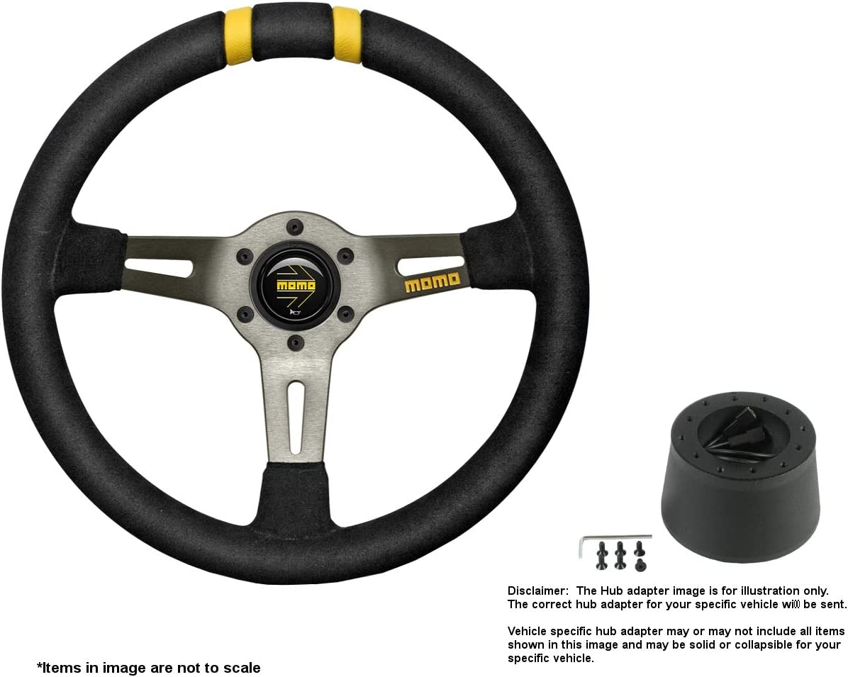 MOMO MOD.DRIFT 330mm (12.99 Inches) Suede Steering Wheel w/Brushed Anthracite Anodized Spokes and Crowder's Hub Adapter for Alfa Romeo Spider Duetto Part # R1907/33S + 0512