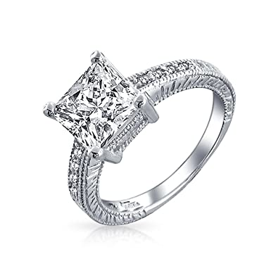 31231372229ede Bling Jewelry 2.9CT Bridal Princess Cut Square Solitaire Promise Pave  Engagement Ring CZ Band Cubic Zirconia 925 Sterling Silver: Amazon.co.uk:  Jewellery