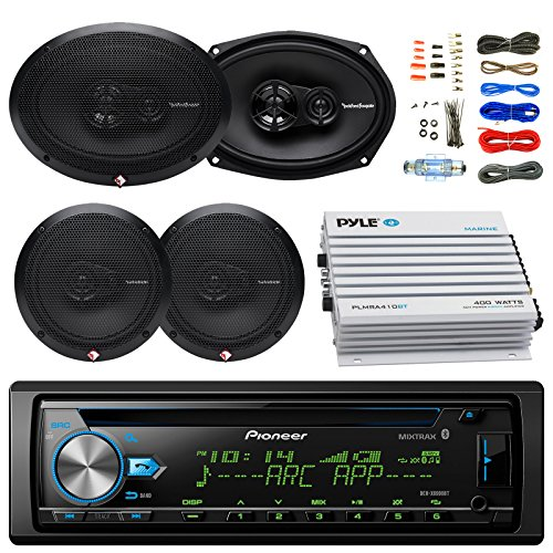 Car Bluetooth Radio USB AUX CD Player Receiver - Bundle Combo With 2x Rockford Fosgate 6.5