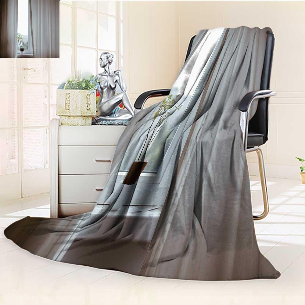 YOYI-HOME Digital Printing Duplex Printed Blanket A Plant on The Window Warm Microfiber All Season Summer Quilt Comforter/59 W by 79'' H