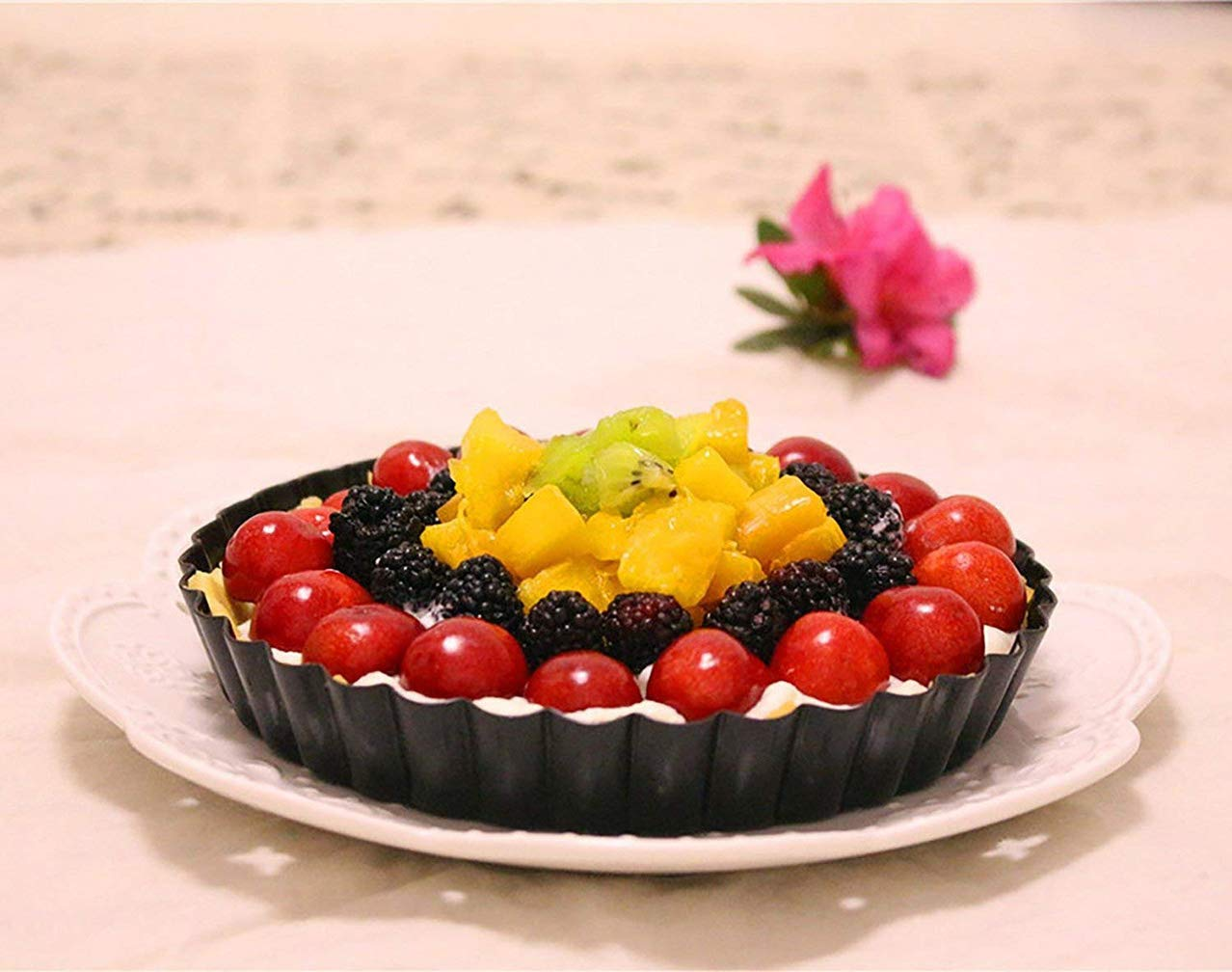 SIMINLIU Non-stick Quiche Tin//Flan Dish with Loose Base,Carbon Steel Baking Pan Pie Tray,28cm
