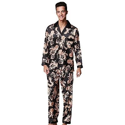 WWAVE Pareja Boda Noble Pijamas Hombres Manga Larga Pantalones Pijamas Set Inicio Usar