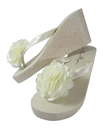 1465ea3292464d Amazon.com  Glitter Wedge Wedding Flip Flops Pom Posy Tulle Satin Flower