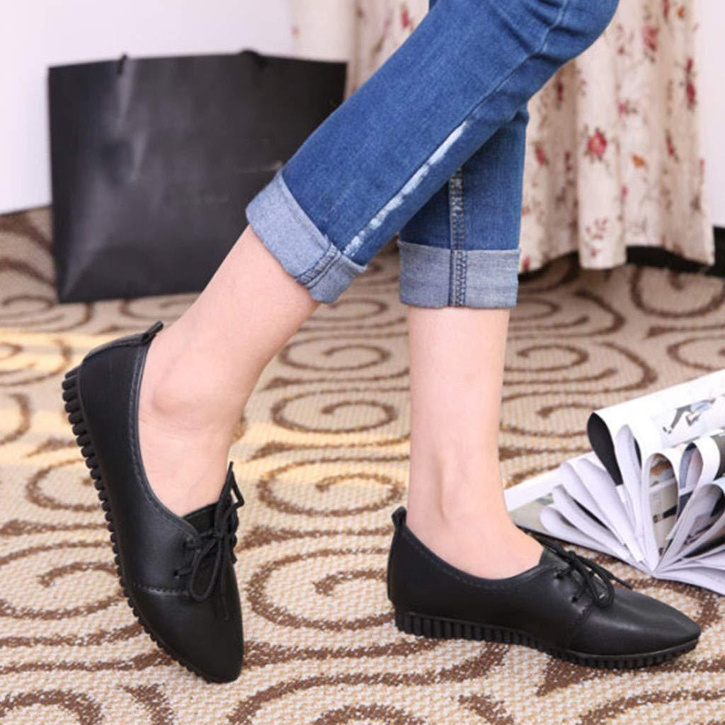 VonVonCo Women Ladies Solid Lace Up Pointed Toe Flat Heel Casual Single Shoes