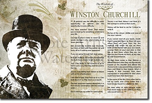 Introspective Chameleon The Wisdom of Winston Churchill Poster (with inspiring motivational, thought-provoking quotes) Photo Art Print Gift 30x20cm Motivation - Size: 12 x 8 - Winston Churchill Picture