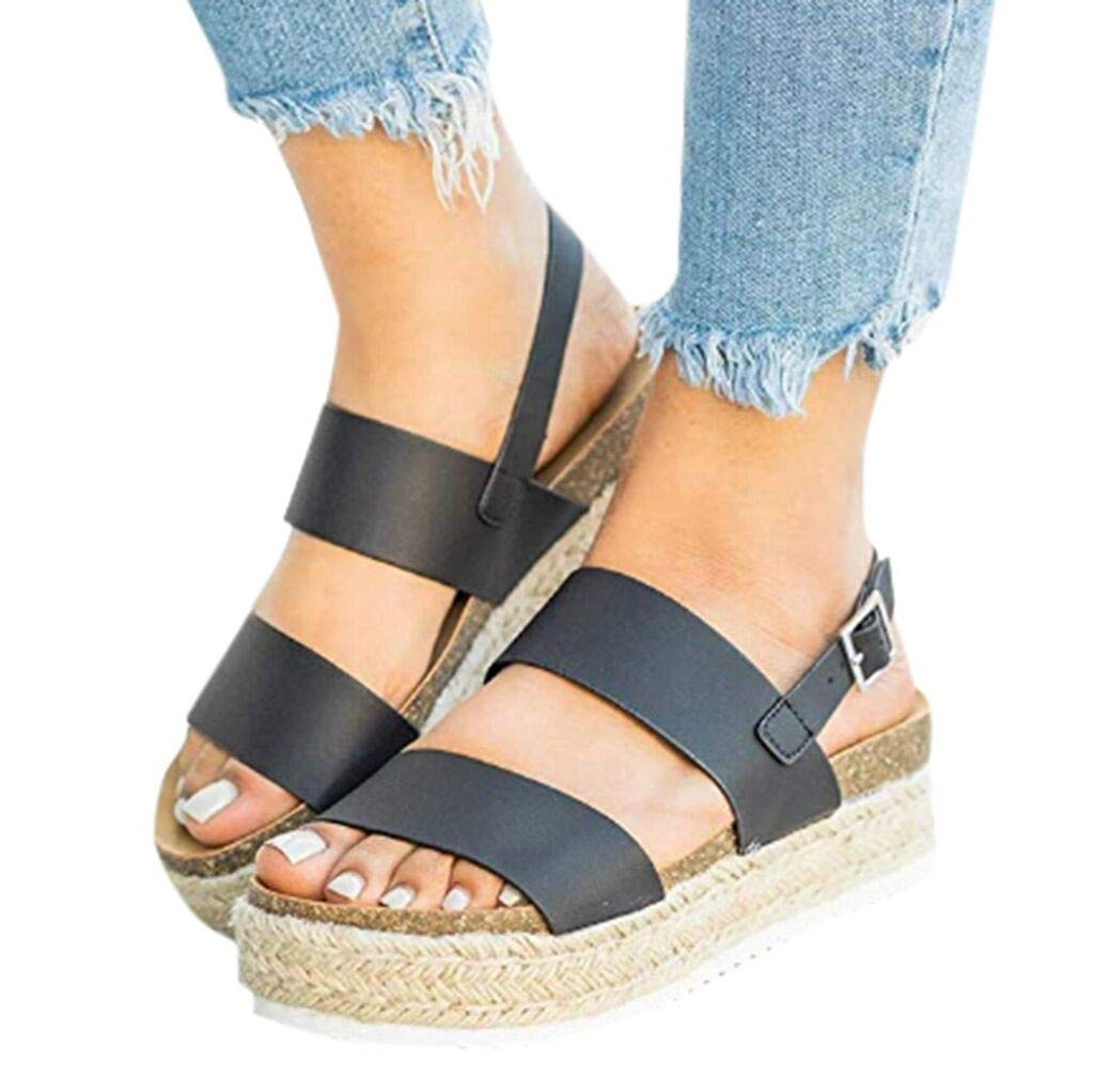Clearance! Swiusd Womens Girls Comfy Flat Roman Sandals Retro Open Toe Slingback Sandals Weaved Thick Bottom Beach Shoes (Black, 7 M US) by Clearance! Swiusd