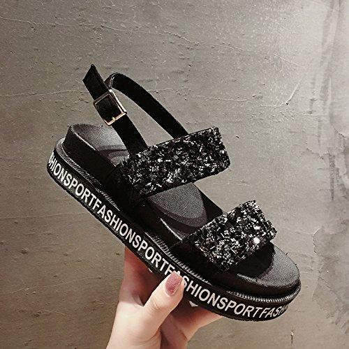 SOHOEOS sandalias de punta abierta zapatos de plataforma grueso mujer verano nueva moda rhinestone plana estudiante mujer zapatos romanos deportes al aire libre ligero ocasional de secado rápido negro