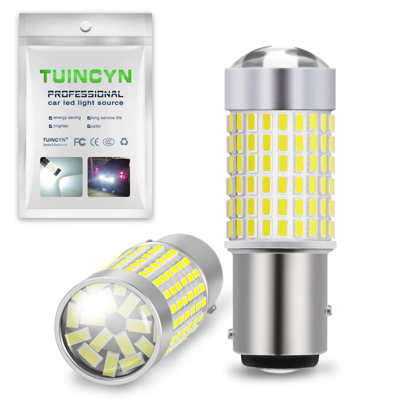 TUINCYN 1156 P21W BA15S LED Bulb White 1500LM 3014-144SMD 1680 1141 7506 1156A Turn Signals Light RV Lamp Indoor Light Side Marker Light Bulbs Pack of 2