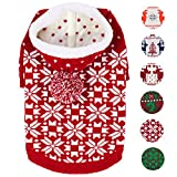 Blueberry Pet 6 Patterns Let It Snow Classic Ugly Christmas Holiday Snowflake Pullover Hoodie Dog Sweater in Red and White, Back Length 10'', Pack of 1 Clothes for Dogs