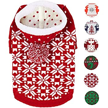 """Blueberry Pet 3 Patterns Let It Snow Classic Ugly Christmas Holiday Snowflake Pullover Hoodie Dog Sweater in Red and White, Back Length 20"""", Pack of 1 Clothes for Dogs"""
