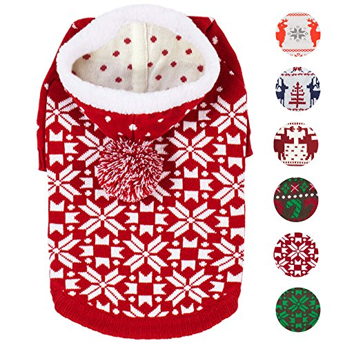 Blueberry Pet 6 Patterns Let It Snow Classic Ugly Christmas Holiday Snowflake Pullover Hoodie Dog Sweater in Red and White, Back Length 12