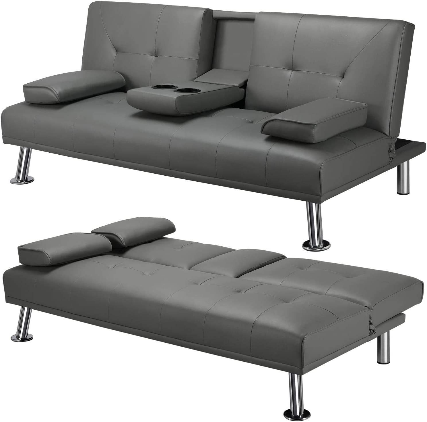 YAHEETECH Living Room Furniture Set Faux Leather Sleeper Modern Style Folding Recliner with Cup Holders Convertible Loveseat Gray
