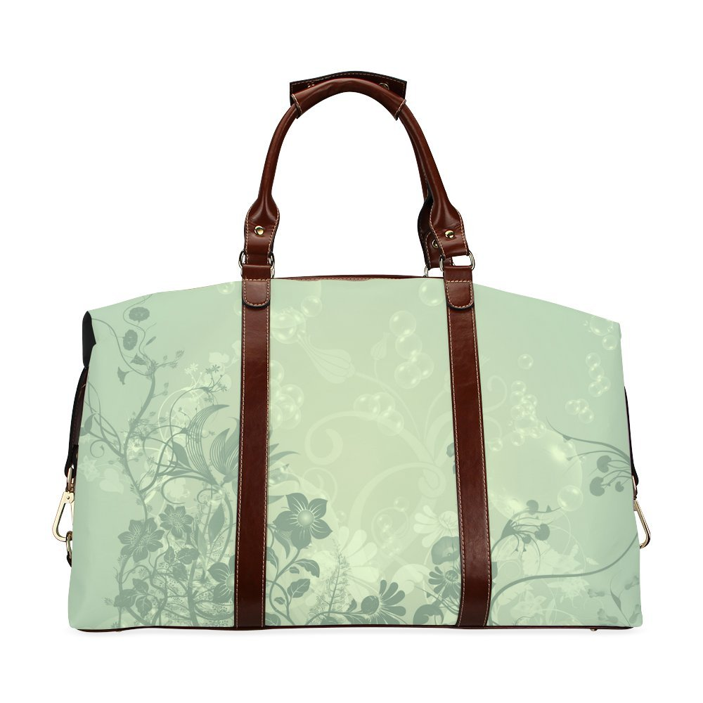 Wonderful Soft Green Flowers Custom Waterproof Travel Tote Bag Duffel Bag Crossbody Luggage handbag