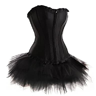 Lffw Princess Corset Dress Satin Lace Up Boned Corset Mini Tutu
