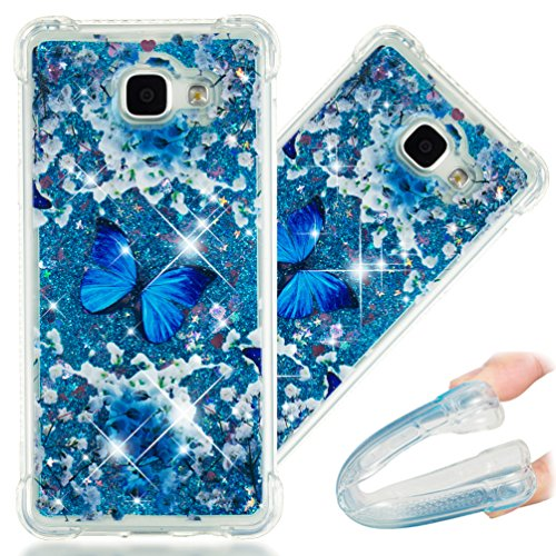 A5 2016 Case, 3D Cute Painted Glitter Liquid Sparkle Floating Luxury Bling Quicksand Shockproof Protective Bumper Silicone Case Cover for Samsung Galaxy A5 2016 A510. Liquid - Blue Butterfly