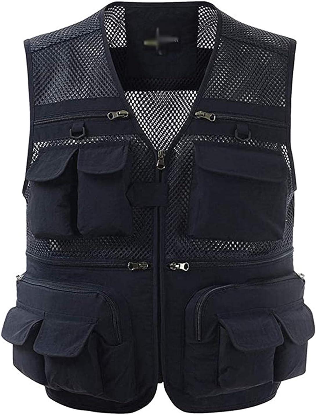 PEHMEA Mens Mesh Outdoor Work Safari Fishing Travel Photo Cargo Vest Multi Pockets Breathable Waistcoat Jacket
