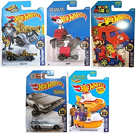 Hot Wheels 2016 HW Screen Time 5-Car Set Back to the Future Delorean Time Machine Hover Mode, Cool One Super Mario, Peanuts Snoopy, Team Hot Wheels Grease Rod Treasure Hunt, & Beatles Yellow (The Beatles Lego)