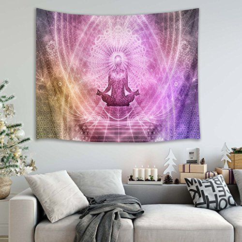 (HVEST Zen Meditation Tapestry Yoga in Fantasy World Wall Hanging Blanket Psychedelic Tapestries for Bedroom Living Room Dorm Decor,60Wx40H inches)