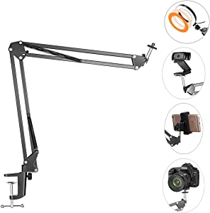 Overhead Tripod Mount for Camera Webcam Ring Light, Flexible Over Head Arm for iPhone with Phone Holder and Ball Head, Table Stand Accessory for Phone Video Recording Live Stream
