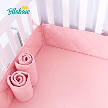1-Piece White Machine Washable Padded Crib Liner Designthology Safe Crib Padding Protector 100/% Cotton Muslin Breathable Mini Crib Bumper Pads U.S.