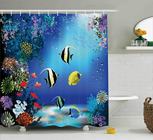 Underwater Shower Curtain by Ambesonne, Tropical Undersea with Colorful Fishes Swimming in the Ocean Coral Reefs Artsy Image, Fabric Bathroom Decor Set with Hooks, 70 Inches, Blue (Shower Fish Curtain Tropical)