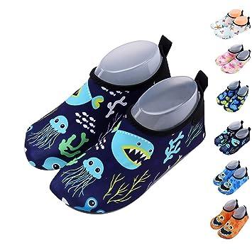 Zapatos de niño Zapatos de agua de natación Niños Zapatos de niños descalzo Aqua calcetines para la piscina de playa Surf Yoga Unisex: Amazon.es: Deportes y ...