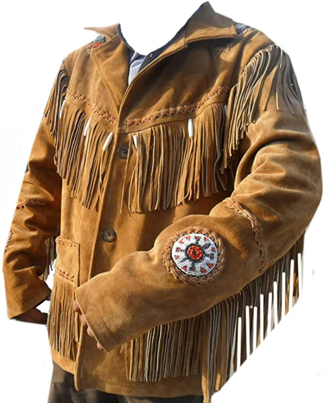 Coolhides Mens Cowboy Leather Jacket Beads, Fringes and Bones