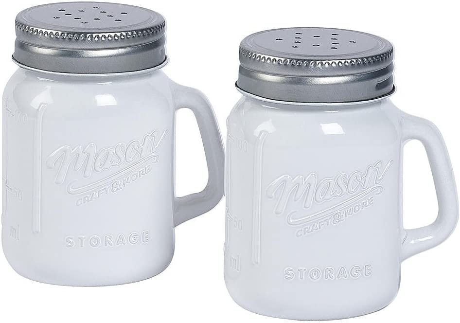 White Glass Mason Jar Salt and Pepper Shakers