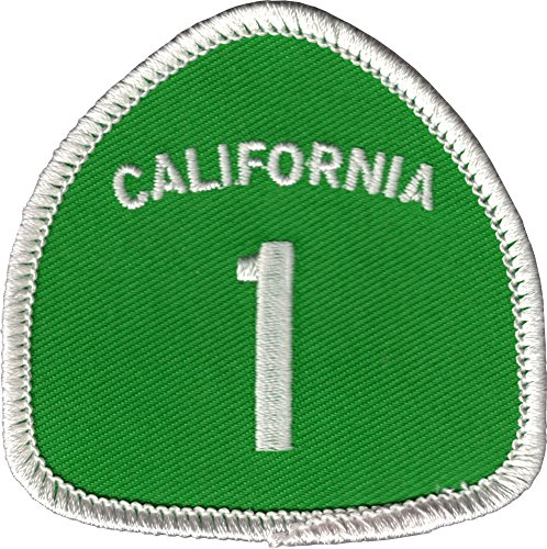 California Highway 1 Green Road Sign - Embroidered Iron On or Sew On Patch ()