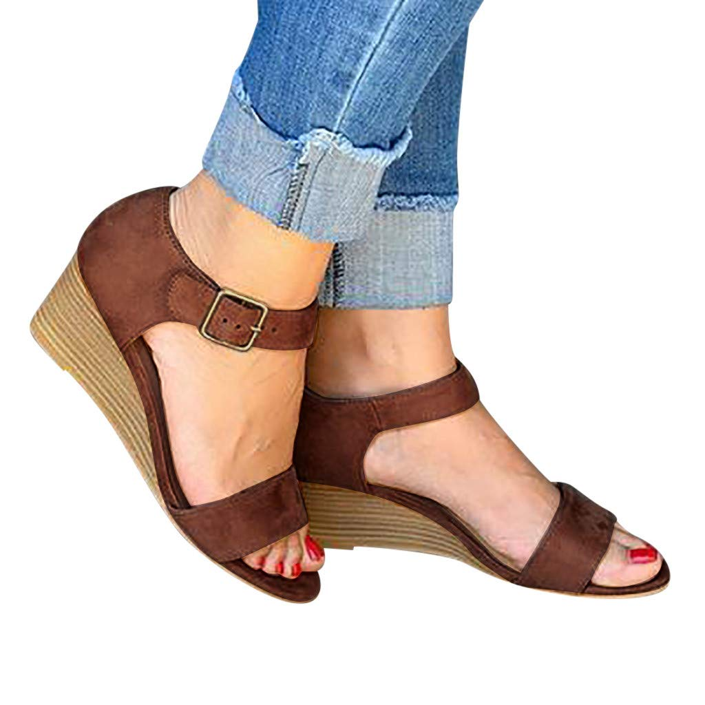 Women's Flatform Espadrilles Ankle Strap Buckle Open Toe Faux Leather Wedge Summer Casual Sandals (Brown, US:10.5)