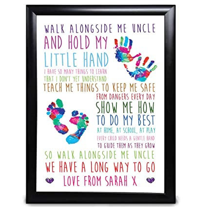 PERSONALISED ANY RECIPIENT for Birthdays Christmas A4 A3 Prints or 18mm Wooden Blocks Black or White Framed A5 Personalised Walk Alongside Me Daddy Dad Poem Gifts for Dad Daddy Grandad Birthday Keepsake Gifts