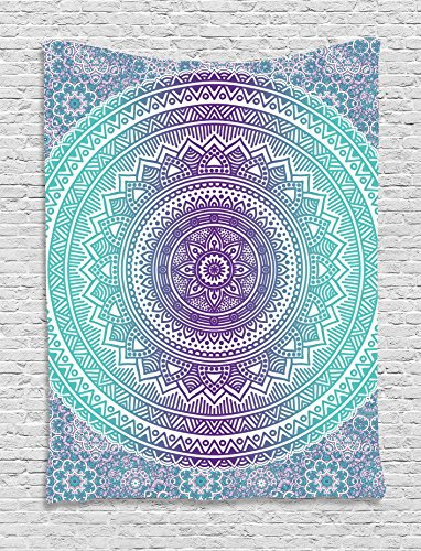 - Ambesonne Blue and Purple Tapestry, Mandala Ombre Eastern Mystic Abstract Old Fashion Bohemian Native Cosmos Art, Wall Hanging for Bedroom Living Room Dorm, 60 W X 80 L Inches, Purple