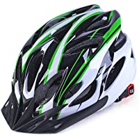 Coromose Bicycle Helmet Integrated Molding Breathable Cycling Helmet for Man Woman Black and White Green Free Size