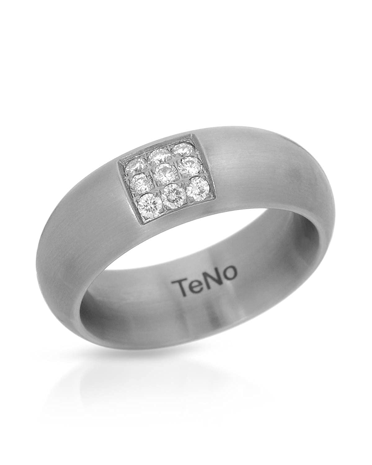 Teno Stainless Steel 0.18 CTW Color F, VS1 Diamond Band Ring.