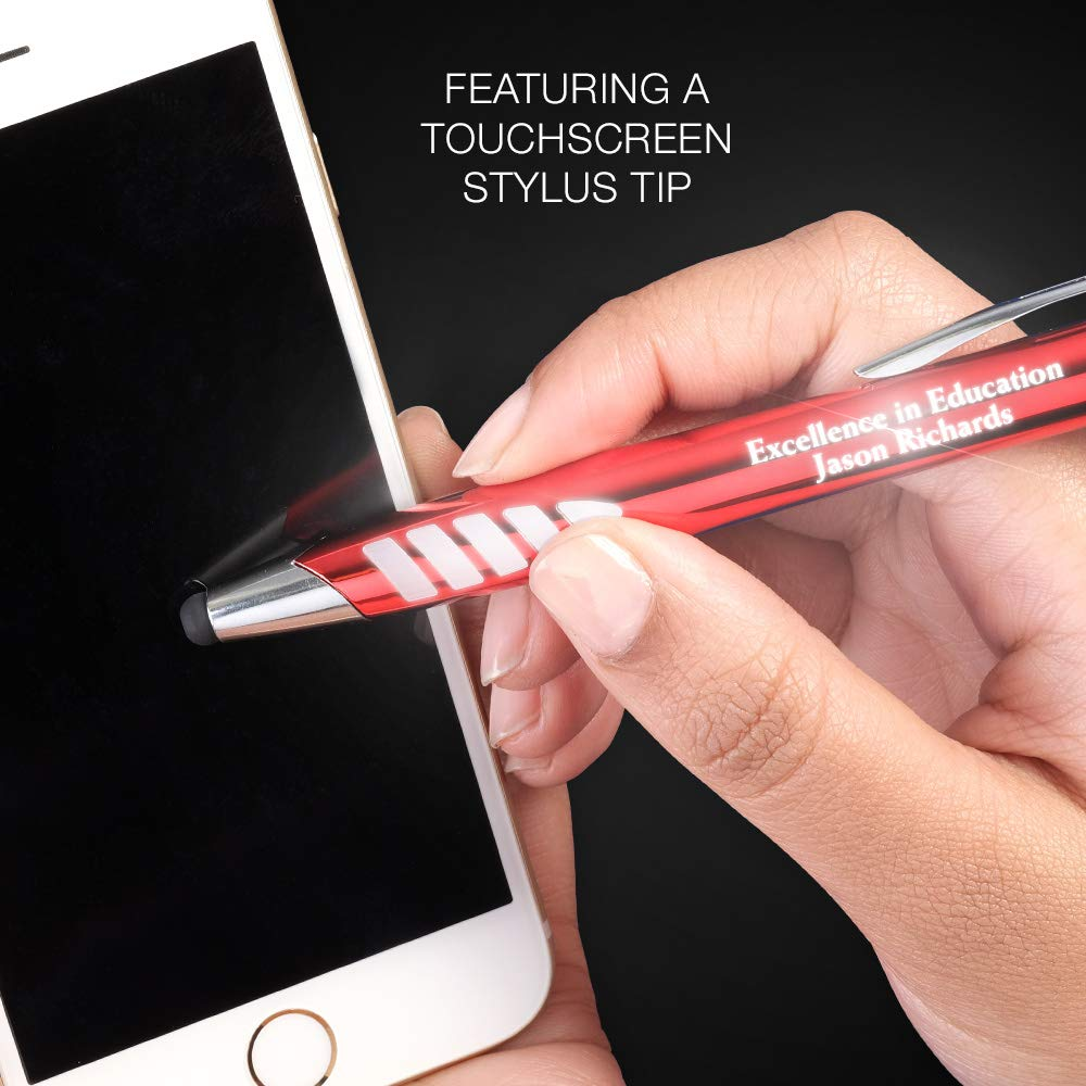 5 Custom Laser-Engraved Metal Ballpoint Stylus Pens With Illuminated Engraving & Soft Glowing Silicone Grip. Available in 5 Colors - Stylus Tip Works with All Touchscreen Devices. by Imprints Online (Image #6)