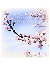 3dRose ct_30863_1 Inspirational Zen Cherry Blossom Rumi Floral Wisdom Quotes-Ceramic Tile, 4-Inch
